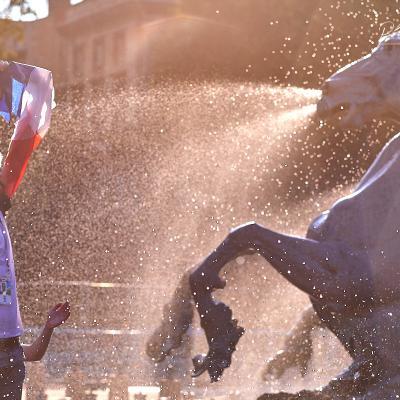 Supporter des Bleus à Bordeaux cheval